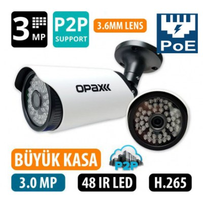 OPAX-2012P 3 MP POELİ  H.265+  2304x1296 3.6mm 48 IR LED IP BULLET P2P