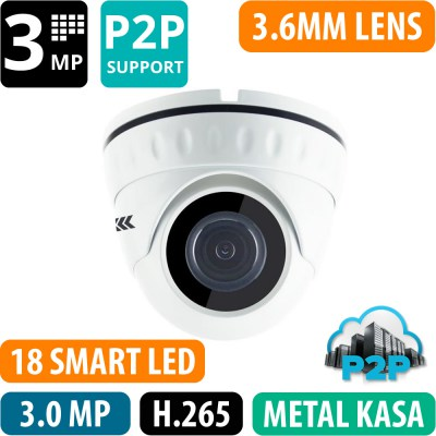 OPAX-1130 3 MP 2304x1296 H.265+ 3.6MM LENS P2P METAL KASA IP DOME KAMERA