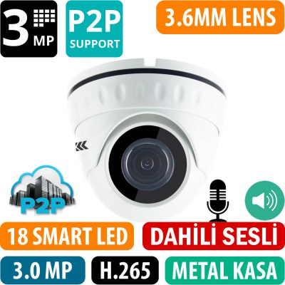 OPAX-1230 3 MP 2304x1296 H.265+ 3.6MM LENS P2P DAHİLİ SESLİ METAL KASA IP DOME KAMERA
