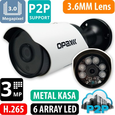 OPAX-3812 3 MP H.265+ 2304x1296 3.6mm 6 Array Led IP Bullet P2P
